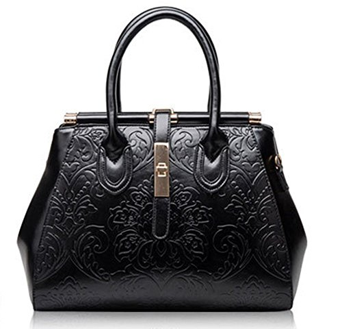 Rrock Handtasche Leder Elegant Retro Handtasche Schultertasche Zwei Farben,Black