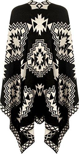 WearAll - Femmes Aztec Imprimer Tricoté Draper Cascade Cap Veste Châle Haut Poncho - Jackets - Femmes - Tailles 36-58 Crème Noir