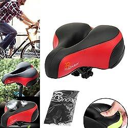 Gel de Silicona Gruesa y Suave de Silla del Bicicleta, Negro y Rojo