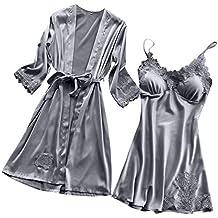 BaZhaHei Ropa interior Lencería Mujer Seda Vestido de Bata de Encaje Babydoll Camisón Ropa de Dormir Kimono Conjunto Sexy Pijama de Encaje Sexy camisón Kimono Cardigan Robe Conjunto de Dos Piezas