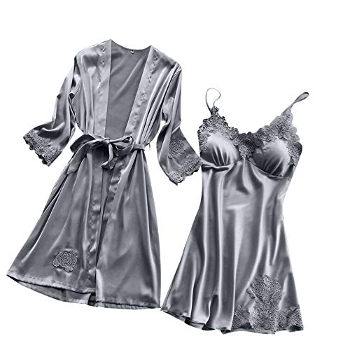 Yazidan Frauen Sexy Satin Pyjamas Silk Lace Sexy V-Ausschnitt Pyjamas Kimono Cardigan Robe Zweiteilige Brautjungfer Brautgeschenke Damengeschenke Single Party Pyjamas Sling Dress -