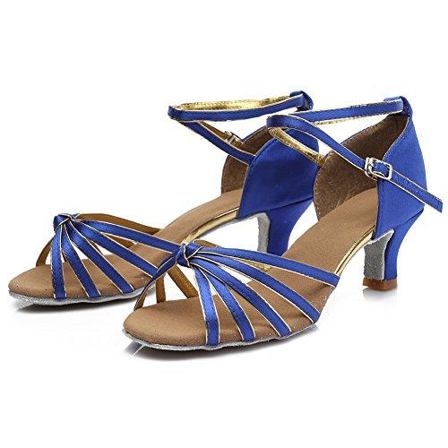 HIPPOSEUS Damen & Mädchen Sandalen Ausgestelltes Tanzschuhe/Ballsaal Standard Satin Latein Dance Schuhe,DE217-5,Blau,EU 39 - 3