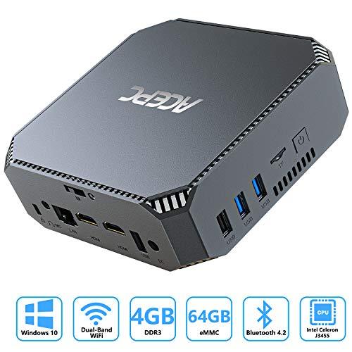 ACEPC Mini-PC mit Intel Celeron J3455 Prozessor, 4GB RAM/ 64GB ROM, Windows 10 Mini Computer mit 2,5 Zoll HDD/SSD Bay, mSATA Port, 4K HD, Gigabit Ethernet, Dual Band WLAN, BT4.2
