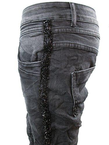 Lexxury Baggy Boyfriend Damen Stretch Hose Knopfleiste Seiten-Streifen Washed Black