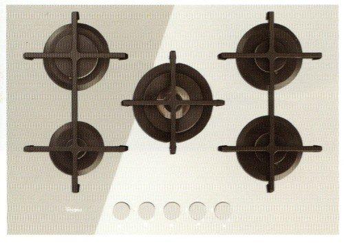 Whirlpool Goa 7523/WH Plaque - Plaque (intégré, gaz, verre, rotatif, partie supérieure avant, 73 cm) couleur blanc