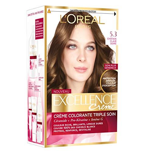 L'Oréal Paris - Excellence Crème - Coloration Permanente Triple Soin 100% Couverture Cheveux Blancs - Nuance 5,3 Châtain Clair Doré