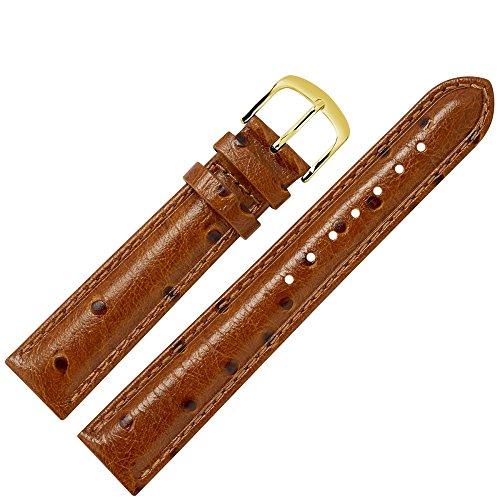 MARBURGER Uhrenarmband 16mm Leder Braun Strauss - Uhrband Set 7561635000220 (Skin Leder Ostrich)