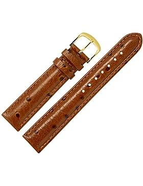 Uhrenarmband 16mm Leder braun Prägung, Strauß, mit Naht - Ersatzarmband für Uhren in Straußenoptik - klassiches...
