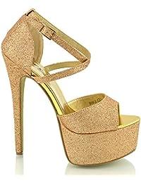 ESSEX GLAM Sandalo Donna Peep Toe con Lacci Plateau Tacco a Spillo Alto f3ecaa9f0e6
