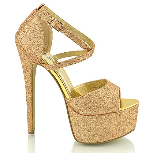 ESSEX GLAM - Damen Riemchen Plateau Sandalen Stiletto Absatz - 4 UK / 37 EU / 6 US, Gold Glitze -