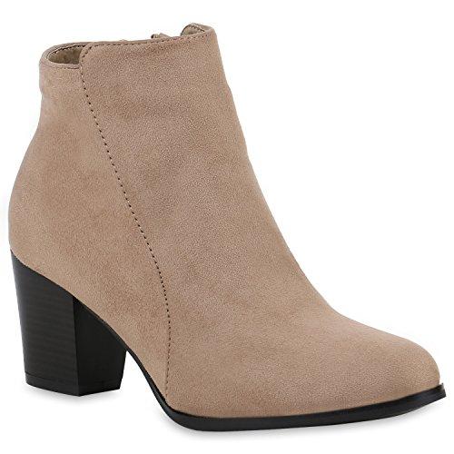 Klassische Damen Stiefeletten Lederoptik Boots Block Absatz Creme