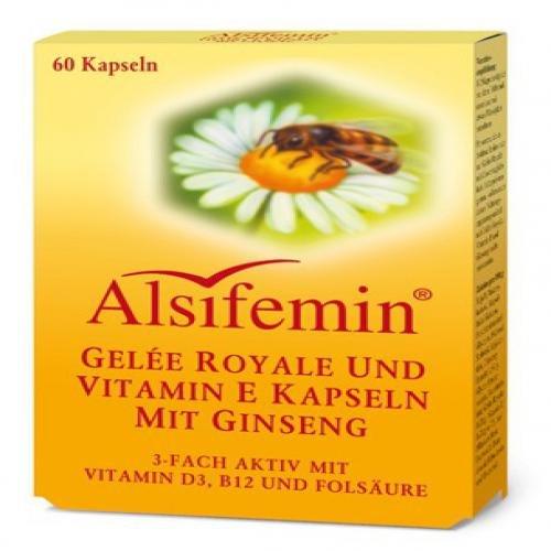 Alsifemin Gelée Royale und Vitamin E Kapseln mit Ginseng, 60