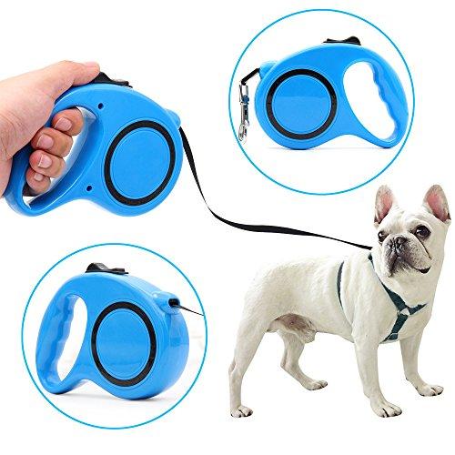 Poppypet Roll Leine für Haustier, Automatische Hundeleine Seil für Hunde und Katzen, Ergonomisches Design rutschfester Griff und widerstandsfähige Nylonschnur Bis 33 lbs 5M Blau