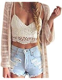 Sky Women Crochet Tank Camisole Chaleco de Encaje Blusa Bralette Sujetador Cultivar Top Delgado Pequeña Camisa