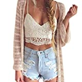 Sky Women Crochet Tank Camisole Chaleco de Encaje Blusa Bralette Sujetador Cultivar Top Delgado pequeña Camisa Que Basa la Camisa Corta (L, Blanco)