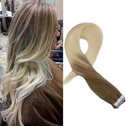 Moresoo Tape On Extensions 14zoll/35cm Braun #6 Zu Blond #60 Band Remy Haare Haarverlängerung Glatt Echthaar Zum Kleben 20Pcs/50Gramm -