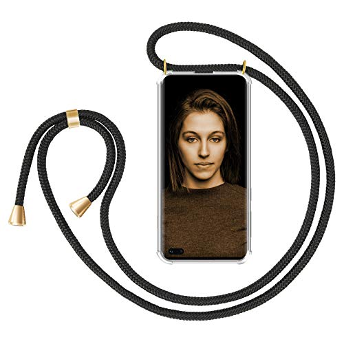 ZhinkArts Handykette kompatibel mit Samsung Galaxy S10 - Smartphone Necklace Hülle mit Band - Schnur mit Case zum umhängen in Schwarz - Gold