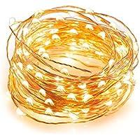 C' est esterno corda di luci dimmerabile 100LED luci catene luminose, 33ft filo di rame–Corda Luce, impermeabile, telecomando, luce bianca calda, ideale per la camera da letto, terrazzo, Natale, Firefly decorativa luci