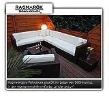 Ragnarök-Möbeldesign PolyRattan Lounge DEUTSCHE Marke - EIGNENE Produktion - 8 Jahre GARANTIE auf UV-Beständigkeit - Garten Möbel Glas Polster braun Gartenmöbel Aluminium Sessel Sofa Rostfrei