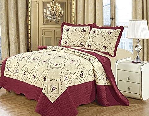 3 Piece Bedspreads Patchwork Vintage Floral Embroidered Bedding Set Reversible Top Quality Bedspread (King (230x250 CM),