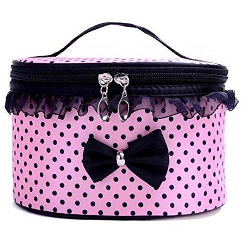 voberry® 1 mignon Lovely femmes Lady bowknot Polka Dot Motif Portable Voyage Trousse de Toilette Maquillage Sac Organisateur pour sac à main