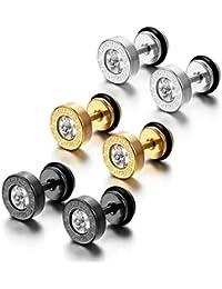 cupimatch Cool para hombre acero inoxidable tornillo Stud Pendientes para Mujer oído plugs túnel Set 8mm (3pares)