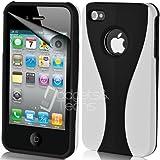 Weiß Schwarz Supergets Apple iPhone 4s und 4 Hülle Mit Displayschutzfolie und Reinigungstuch