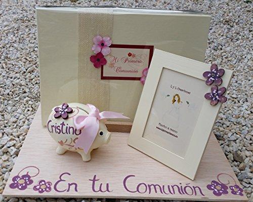 LyL Creaciones Regalo de Primera Comunión niña Personalizado Modelo Olga, con Libro Personalizado, un Marco 10x15cm y un Cerdito Hucha
