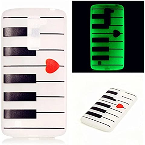 TKSHOP Caso luminosi Accessori Premium per LG K10 Case Cover ultra sottile copertura trasparente funzione Night Glow TPU silicone Custodie Guscio nottilucenti copertura Antifingerprint - pianoforte amore