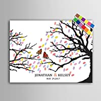 Lienzo con diseño de una mariposa en una rama para firmas y huellas dactilares, regalo o decoración de boda con tinta de 12colores (personalizable), 59x80cm unframed