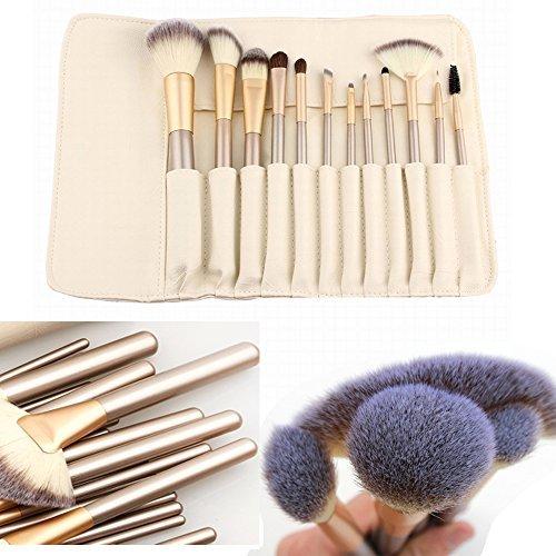 Ammiy� Makeup Brush Set Professional Wood Handle Premium Synthetic Kabuki Foundation Blending Blush Concealer Eye Face Liquid Powder Cream Cosmetics Lip Brush Tool Brushes Kit (12 Pieces White Cream-colored Case Bag)