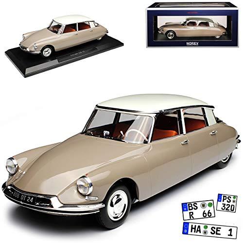 Norev Citroen DS19 Limousine Braun mit Weißem Dach 1955-1968 1/18 Modell Auto mit individiuellem Wunschkennzeichen - Citroen Modell