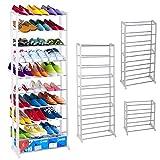 Ardisle-30pares estante para zapatos soporte de estante organizador unidad de almacenamiento color blanco de pie