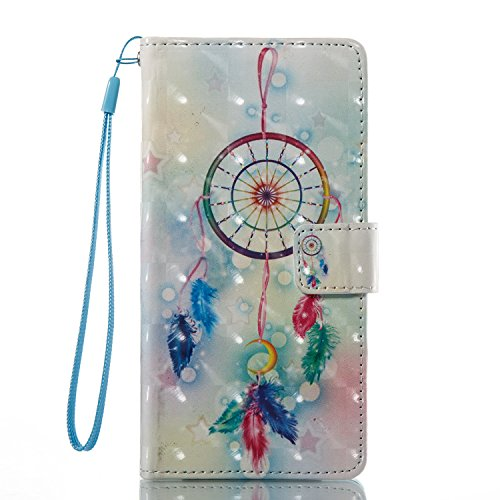 Huawei P9 Lite Hülle , Caselover Tasche für Huawei P9 Lite Premium Geldbeutel Kunstleder Flip Taschenhülle Handytasche Rückseite Schale für Huawei P9 Lite (5.2 zoll) Magnetverschluss Kartenfächer Klap Traumfänger