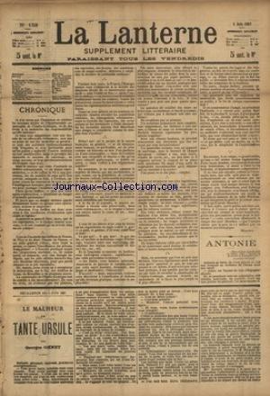 LANTERNE (LA) [No 153] du 05/06/1887 - ANTONIE PAR DE VILLIERS DE L'ISLE-ADAM - LE PRUSSIEN DE BELISAIRE PAR DAUDET - L'ANNEAU DES FIANCAILLES PAR AUDEBRAND - LE BON VIN - SERGENT PAR CHALMIN - CHASSE AU TIGRE PAR MERY - LA SANTE PUBLIQUE PAR LE DR MARC - FEUILLETONS / LE MALHEUR DE TANTE URSULE PAR OHNET ET LA FAUTE DU PERE PAR DESBEAUX