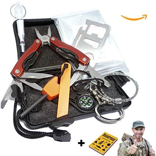 AVStar - Kit de Supervivencia y Emergencia Profesional, +20 funciones, excursiones acampadas y caminatas seguras: silvato cuchillo manta sierra herramientas yesca pedernal brújula - Imprescindible