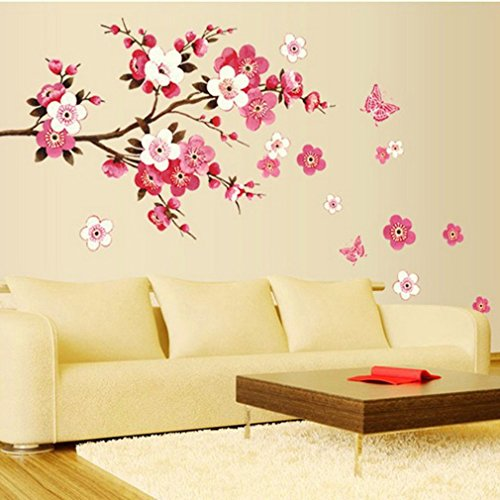 Bedroom Wall Art Diy Bedroom Kids Pink Bedroom Ideas Japanese Style Art Deco Interior Design Bedroom: Badezimmer Blume Schmetterling Wandaufkleber Aufkleber