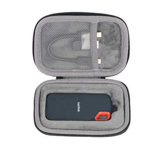 Étui de Voyage Rigide Housse Cas pour SanDisk Extreme Disque Flash SSD Portable 250 Go / 500 Go / 1 to / 2 to par co2CREA (Black Case with Inner Box)