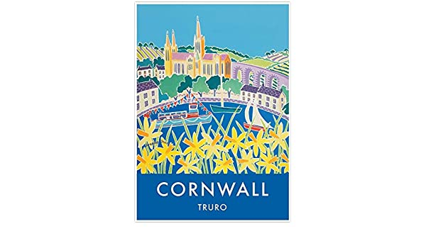 Cornish vintage style travel art poster print of Truro Cathedral in Cornwall by artist Joanne Short.
