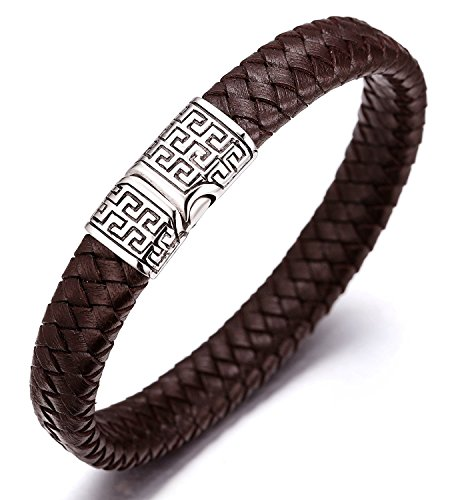 """Moneekar Jewels """"SOLO"""" Men's Genuine Leather Bracelet Titanium Clasp with Magnets 8.07""""(20.5cm) (Black/Brown) with FREE Giftbox"""
