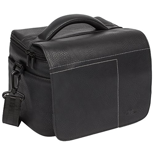 RIVACASE DSLR-Schultertasche - Hochwertige Kameratasche mit mit Anti-Rutsch-Schultergurt und Frontklappenverschluss - Schwarz