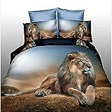 3D du désert Lion 4pcs Ensemble de Linge de lit imprimé Home Textile Doudou...