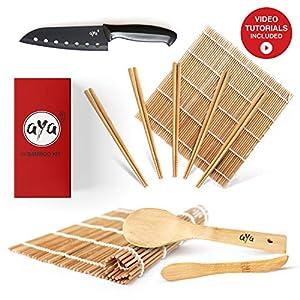 AYA Sushi Set - Original Bambus Kit mit Sushi Kochmesser - Online Video Tutorials - 2 Rollmatten - Löffel & Spatel - 5 Paar Essstäbchen - 100% natürliche Premium Bambusmatten