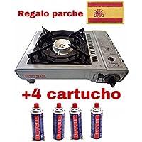 Butsir Cocina Portatil Camping de Cartucho de Gas un Fuego + Incluido 4 Válvula B250 Gratis