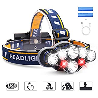 LED Head Torch, MOSFiATA Super Bright Headlamp 13000 Lumens Rechargeable Headlight,90 Degree Angle Adjustable Led,8 Modes Waterproof Headlight Perfect for Running,Walking,Camping,Reading,Hiking 12