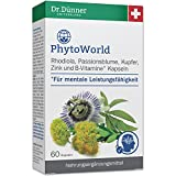Dr.Dünner PhytoWorld 60 Kapseln für mentale Leistungsfähigkeit   Rhodiola, Passionsblume, Kupfer, Zink & Vitamin B   Nahrungsergänzung gegen Müdigkeit & Erschöpfung   ohne Gentechnik