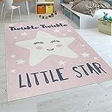 Paco Home Kinderteppich Kinderzimmer Mädchen Waschbar Niedlicher Stern Spruch Rosa Weiss, Grösse:120x160 cm