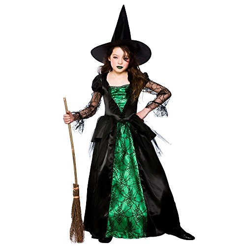 (Emerald Witch (Deluxe) - Kids Fancy Dress Kostüm 3/4 Jahre)