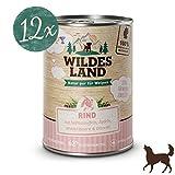 Wildes Land | Nassfutter für Hunde | Puppy Rind | 12 x 400 g | mit Süßkartoffeln, Äpfeln, Wildkräutern & Distelöl | Glutenfrei | Extra viel Fleisch Akzeptanz und Verträglichkeit