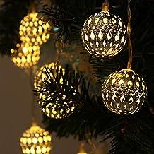 Xcellent Global Linternas Globo marroquíes Amarillos de Metal Impermeable DE 12 Leds de luz Solar con